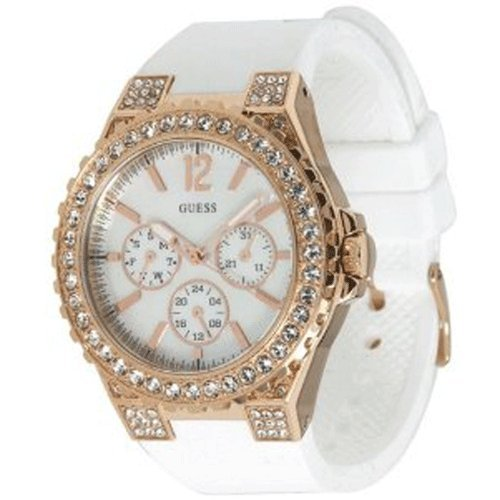 Guess U16529L1 chronograph mop dial stainless steel case white silicone strap women watch NEW