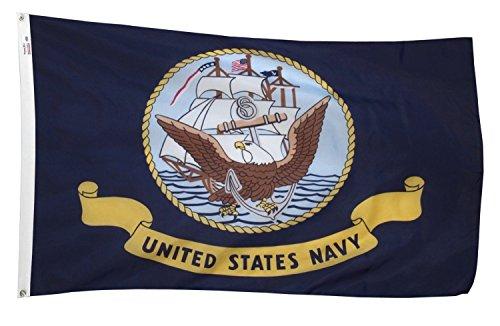 K's Novelties 3 x 5 US Navy Anchor Ship Emblem Flag Double S