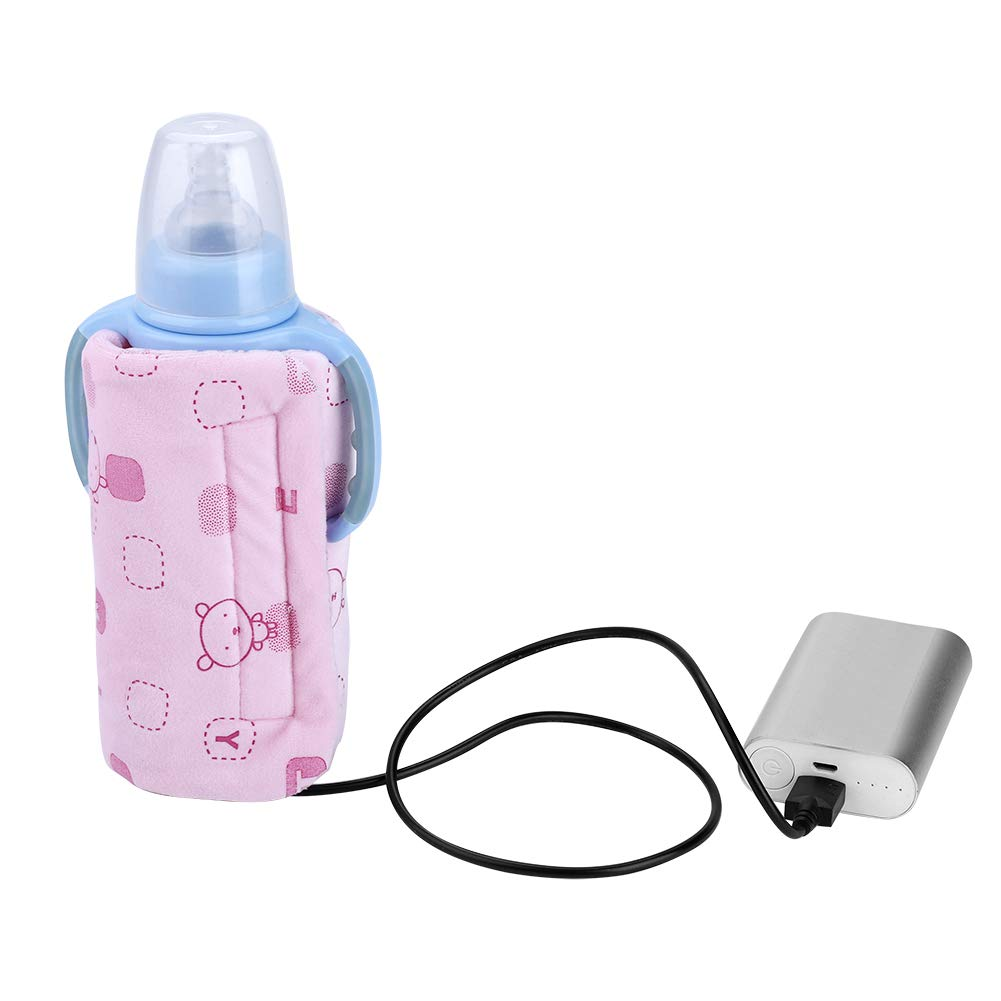 USB Travel Bottle Warmer, Acogedor Portable Feeding Bottle Heater, Milk Warmer (Pink)