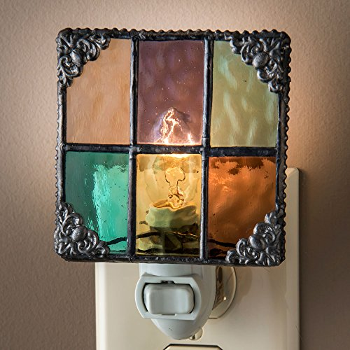 J Devlin NTL 165 Multi Colored Stained Glass Night Light Peach Purple Green Aquamarine Amber Burgundy Decorative Home Accent
