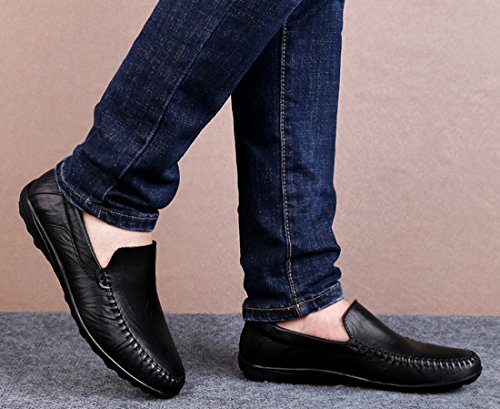 Shoes Comfort Casual Slip 2 Loafers Men's Stitching Style black Mesh Breathable Penny Leather On TDA U4TCqwP