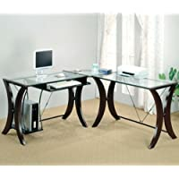 L shaped corner student computer desk with glass top and espresso finish frame