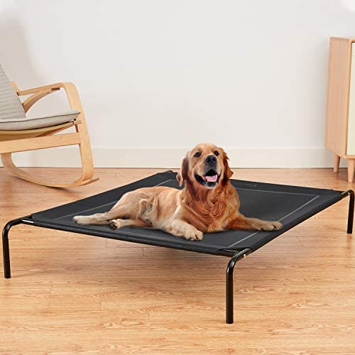 Eterish Elevated Dog Bed for Small, Medium, Large Dogs and Pets, Raised Dog Bed with Durable Frame and Mesh, Dog Cot Bed with Rubber Feet for Indoor and Outdoor Use, Black