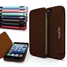 iPhone 4S Case, Cellto MOZ Sophisticated Case [Ultra Slim] Flip Cover for Apple iPhone 4S or iPhone 4 - Brown