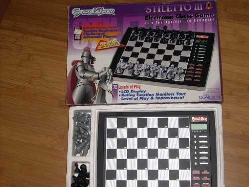 Excalibur Model 932ED Stiletto III Chess Computer in original box. 72 levels of play. Estimated rating: ()