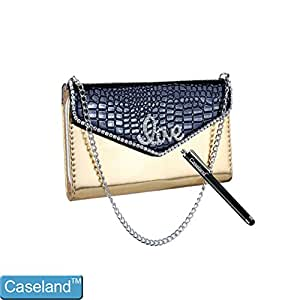 Caseland Case For Iphone 4 4s Wallet Case PU Patent Leather Folio LOVE Pattern Plaid?Pouch Credit Card Slot Magnetic Magnet?Chain Handbag Rhinestone Case For Iphone 4 4s Black Golden