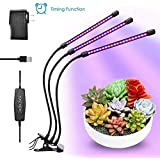 30W Plant Grow Light Adjustable 3-Head 60 LED Timing Grow Lamp for Indoor Plants, Red, Blue Spectrum,6 Dimmable Levels,3 Switch Modes,Long Life,Including Power Adapter(5V 3A).