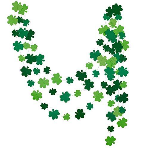 3Pcs Shamrock Clover Hanging Garland Banner- St. Patrick's Day Party Shamrock Decorations- Irish Home Hanging Garland Decor (Patricks Day Garland)