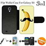 Cute Mustache Banana Custom Galaxy S4 Cases Flip Wallet Case,Bundle 3in1 Comes with Screen Protector/Universal Stylus Pen by innosub