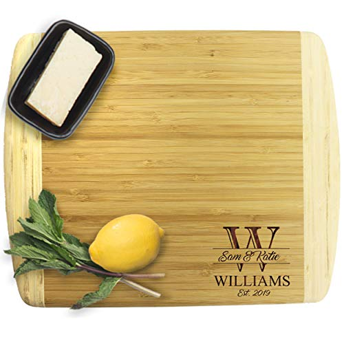 Premium Bamboo Cutting Boards - Monogrammed Wedding Cutting Board Housewarming Gifts for Couples - Custom Personalized for Free (MEDIUM - 13