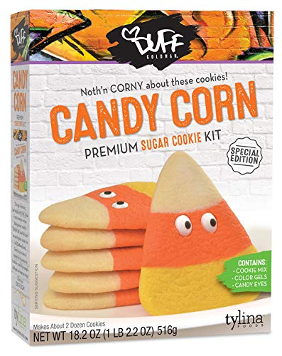 Duff Goldman Candy Corn Premium Sugar Cookie Kit Halloween Special Edition, Contains Cookie Mix, Color Gels, Candy Eyes (1 Count)]()