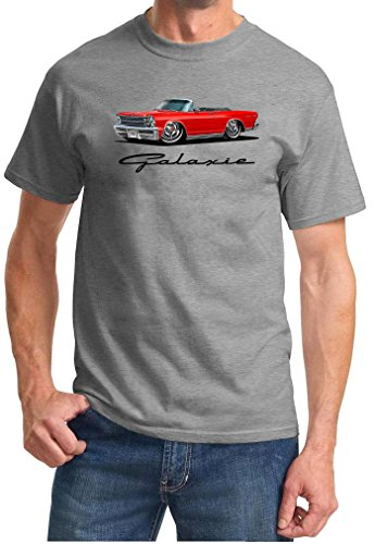 - 1966 Ford Galaxie 500 Convertible Full Color Design Tshirt 2XL Grey