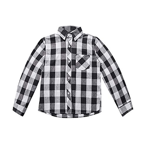 Flannel Sleeve Kids Long (MuZi famlily Little Boys' Long Sleeve Button Down Plaid Flannel Shirt(6-8 Years,Black White))