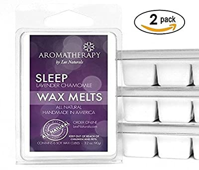 Lee Naturals Aromatherapy - (2 Pack) SLEEP - Lavender Chamomile Premium All Natural 6-Piece Soy Wax Melts. Hand Poured Naturally Strong Scented Soy Wax Cubes