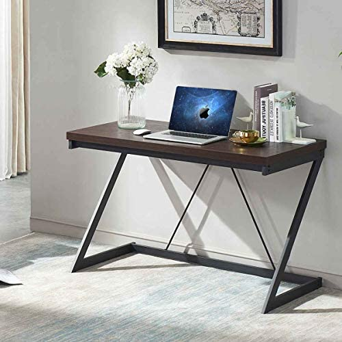 SHOCOKO Computer Desk 55 inch, Metal and Wood Z Writing Desk, Work Sturdy Table for Home Office, Espresso