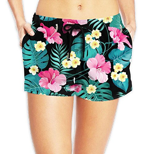 SARA NELL Womens Drawstring Hawaii Hawaiian Tropical Flowers and Jungle Palms Beach Board Shorts Swim Trunks by SARA NELL