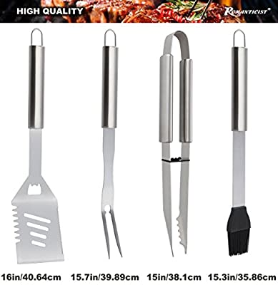 ROMANTICIST 20pc Stainless Steel BBQ Grill Tool Set for Men Women with Gift Box - Complete Outdoor Barbecue Grilling Accessories Kit in Aluminum Storage Case