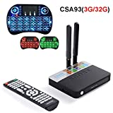 3GB 32GB Android 7.1 TV Box Amlogic S912 Octa Core CSA93 Streaming Smart Media Player + Backlit keyboard