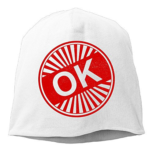 Fashion Solid Color Ok Stamp Beanie Cap for Unisex White One Size