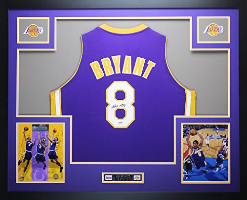 Kobe Bryant Autographed Purple Lakers Jersey - Beautifully Matted and Framed - Hand Signed By Kobe Bryant and Certified Authentic by PSA COA - Includes Certificate of Authenticity