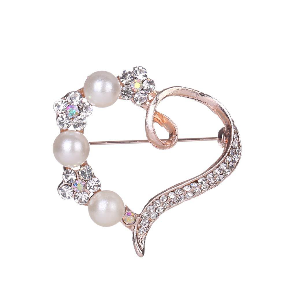 Ogquaton Cristal de qualit/é sup/érieure broches coeur broche perle revers /épingle v/êtements accessoires