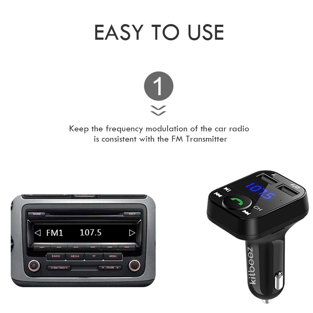 Handsfree Call Car Charger Radio Receiver/&Mp3 Music Stereo Adapter,Dual USB Port Charger Compatible for iPhone,iPad,Samsung Galaxy,LG,HTC,Smartphone Kitbeez Wireless Bluetooth FM Transmitter