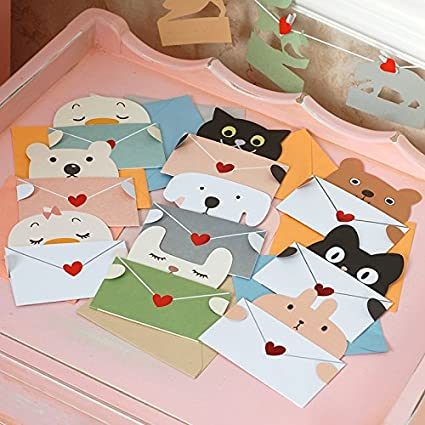EasyBuy India Cute Animal Message Cards Mini Envelope Thank You Stationery Kids Greeting