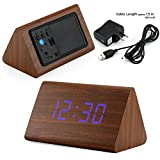 GEARONIC TM Modern Triangle Wood LED Wooden Alarm Digital Desk Clock Thermometer Classical Timer Calendar Updated 2016 Brighter LED - Brown (Blue Light)