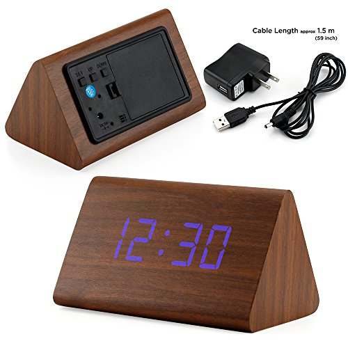 Gearonic Tm Modern Triangle Wood Led Wooden Alarm Digital Desk Clock Thermometer Classical Timer Calendar Updated 2016 Brighter Led   Brown  Blue Light