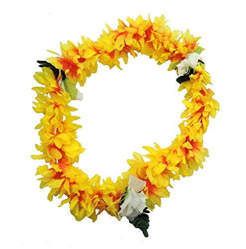 Jacobson Hat Company Tropical Yellow Hawaiian Lei Polynesian Faux Hybiscus Flower -