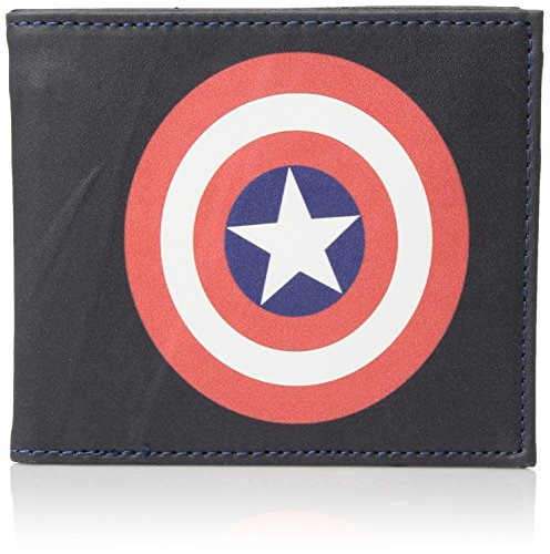 Mens Icon Wallet (Marvel Men's Slimfold Wallet in Collectible Tin Box, Captain America Icon, One Size)