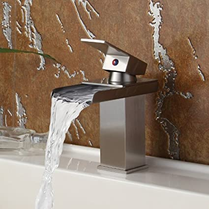 Single Handle Bathroom Sink Waterfall Faucet Finish Brushed Nickel