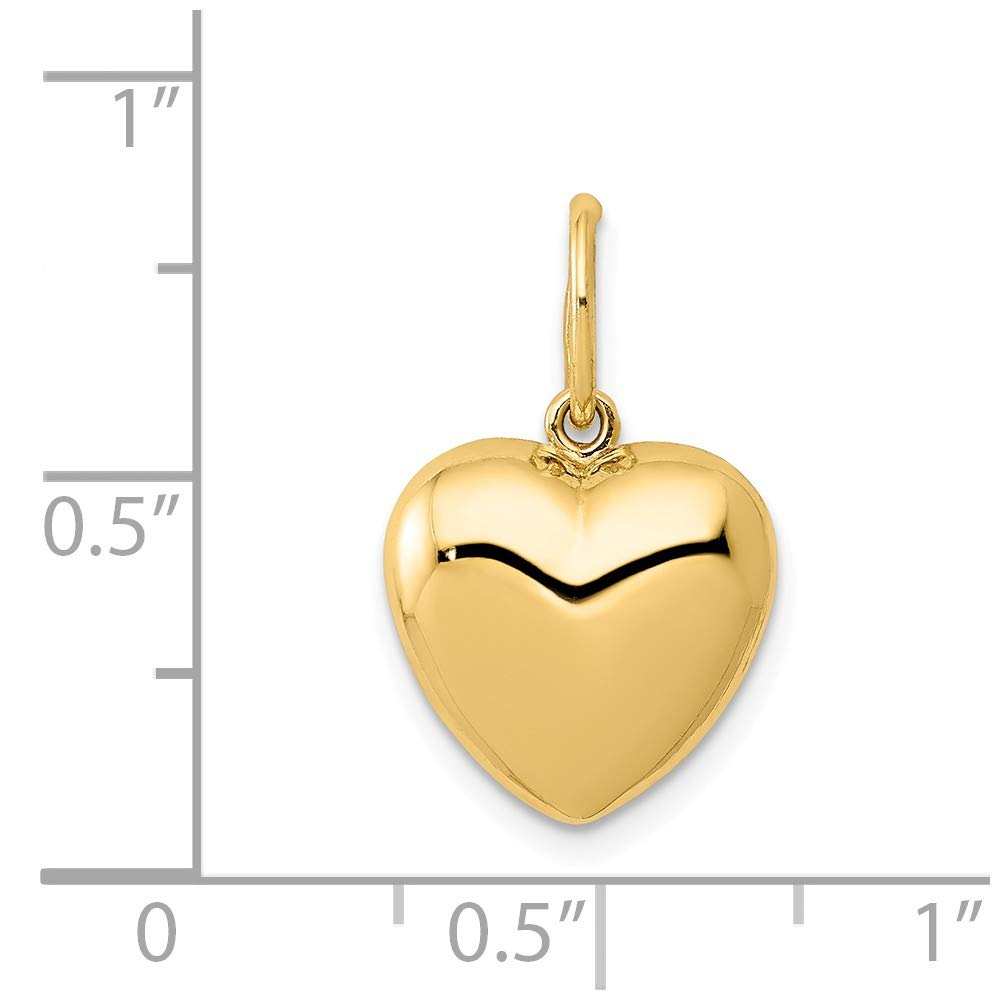 JewelrySuperMart Collection 14k Gold Hollow Puffed Heart Pendant Charm