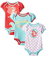 Disney Baby Girls' The Little Mermaid Ariel Bodysuit (Pack of 3)