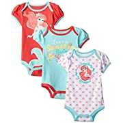 Disney Baby-Girls The Little Mermaid Ariel Bodysuit, Pink, 18 Months (Pack of 3)