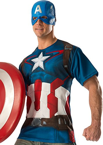[Rubie's Costume Co Men's Avengers 2 Age Of Ultron Adult Captain America T-Shirt and Mask, Multi,] (Ultron Halloween Costumes)