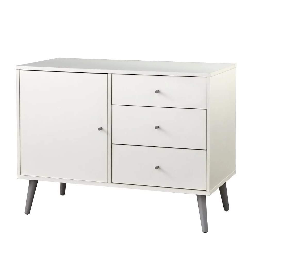 ModHaus Living Mid Century Modern Wood Sideboards Buffet with 3 Drawers 1 Cabinet and Adjustable Shelf with Solid Wood Legs - Includes Pen (White)