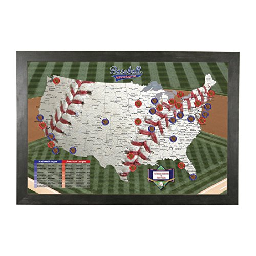 Black American League Frame - Push Pin Travel Maps Personalized Baseball Adventures with Rustic Black Frame and Pins - 27.5 inches x 39.5 inches