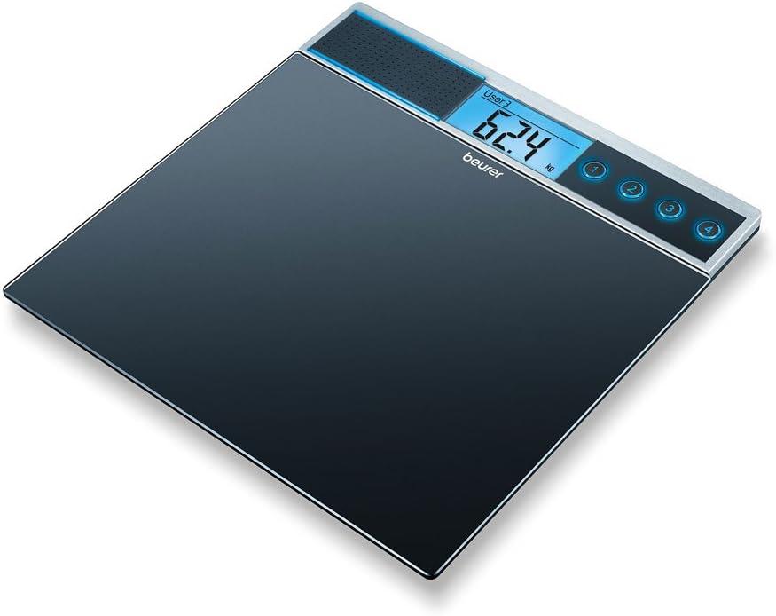 Beurer GS 39 - Báscula de baño de vidrio con función voz, 5 idiomas (ES/DE / FR/EN/ RU)