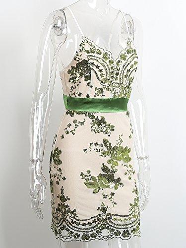 Simplee Apparel Women 's Autumn Slim Fit V Neck Vintage floral malla tirantes lentejuelas coctel bodycon mini vestido de fiesta de oro Verde