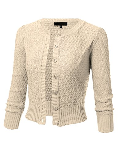 ARC Studio Womens Button Down 3/4 Sleeve Crewneck Cropped Knit Cardigan Crochet Sweater S Oatmeal