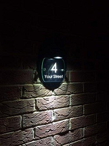 [해외]Led 하우스 서명 유리 아크릴 블랙 글로스 블랙 다시 패널 귀하의 문을 번호 거리 주소를 만든/Led House Sign Glass Acrylic   Black   Gloss Black Back Panel Made To Your Door Number   Street Adress