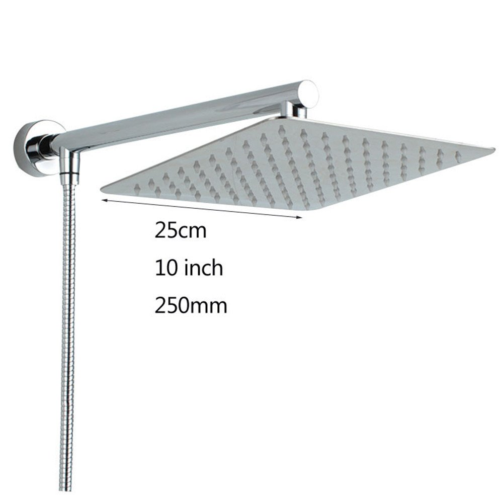 Square 10 inch Chrome Wall Mounted Ultrathin Square Shower Head + Brass Shower Arm + 150cm Srainless Steel Shower Hose,10 inch,round