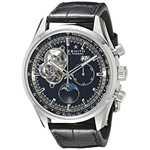 Zenith Men's 0321604047.21C El Primero Chronomaster Open Grande Date Analog Display Swiss Automatic Black Watch