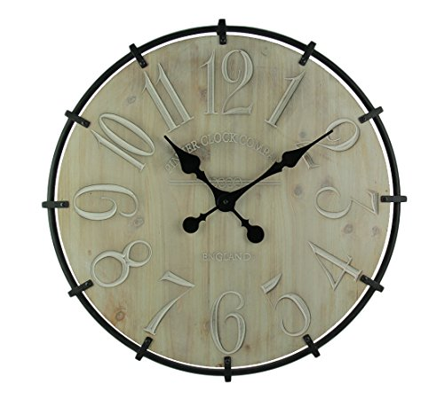 Elico Ltd. Wood & Metal Wall Clocks Rustic Modern Carved Wood Wrought Iron Frame Wall Clock 23 Inch 23.25 X 23.25 X 1.25 Inches Off-White