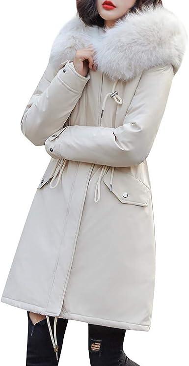 Manteaux Vestes Femmes Manteau à Capuche en Fausse Fourrure avec Poches rembourrées en Coton à la Mode