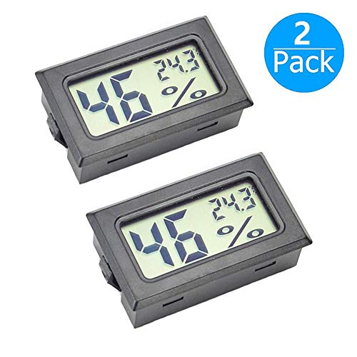JEDEW 2-Pack Hygrometer Gauge Indoor Thermometer,Mini Digital LCD Monitor Temperature Outdoor Humidity Meter for Humidors Greenhouse Basement Cellar Closet, Measure in Fahrenheit (℉) (2-Pack Black)
