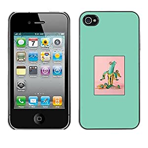 Soft Silicone Rubber Case Hard Cover Protective Accessory Compatible with Apple iPhone? 4 & 4S - banana green fruit minimalist