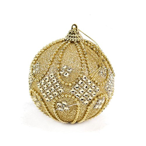 WARMSHOP Rhinestone Pearl String Xmas Tree Ornament High End Christmas Balls For Home Decor (Gold) - Ornament Gold Bell