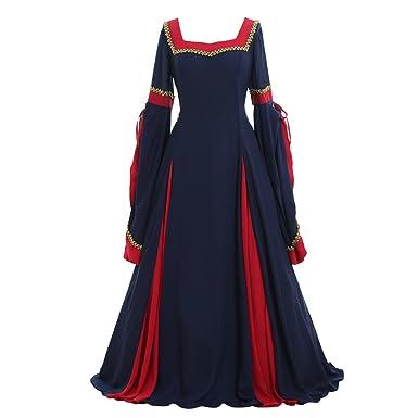 CosplayDiy Women's Guinevere Navy Blue-Bordeaux Victorian Dress Costume